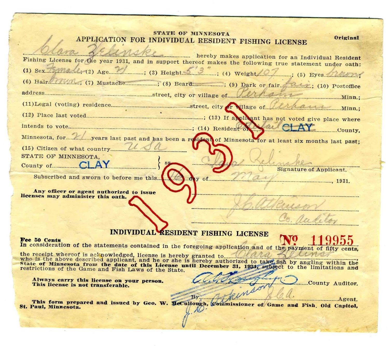 1931 state of minnesota individual resident fishing for Fishing license minnesota
