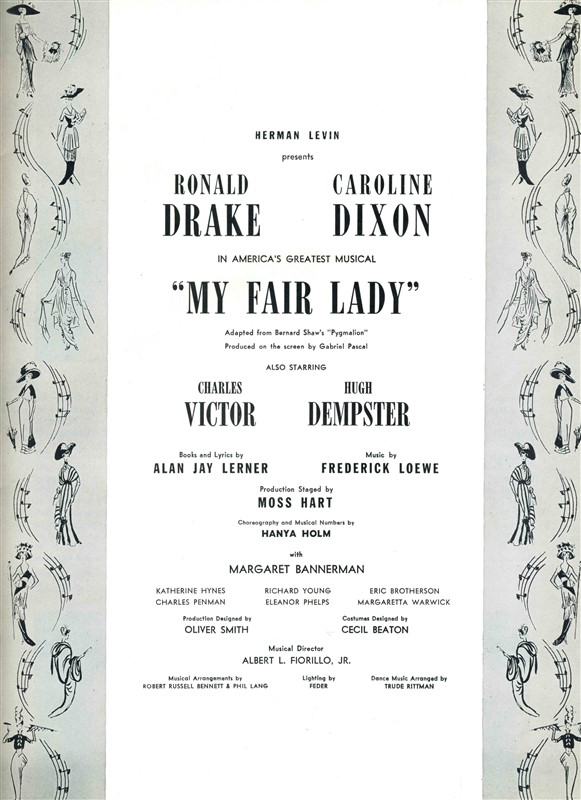 a comparison of the first scenes in george bernard shaws pygmalion and alan jay lerners my fair lady Max dreyfus (april 1, 1874 – may 12, 1964) was a german-born american music publisher, arranger and songwriter between the 1910s and 1950s he encouraged and.