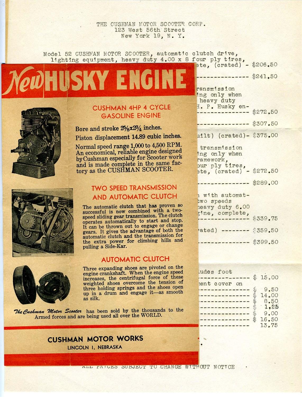 1946 Cushman Motor Scooter Brochure Letter Price List In