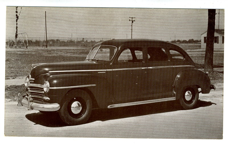 1946 plymouth 4 door sedan dealer advertising postcard ebay