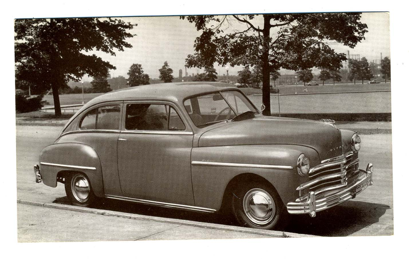 1949 plymouth 2 door sedan dealer advertising postcard 94