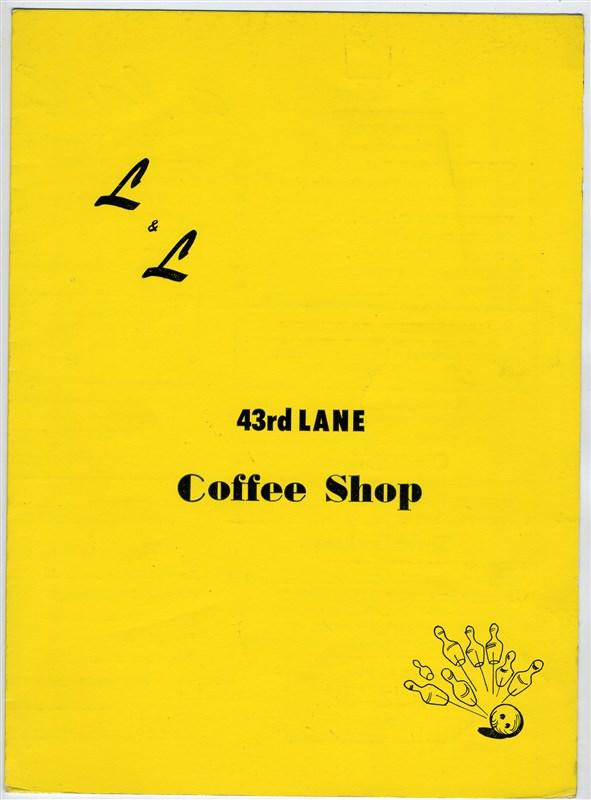 43rd Lane Coffee Shop Menu San Francisco California 1960S