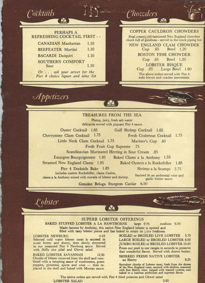 Anthony's Pier 4 Menu Boston Massachusetts 1960's