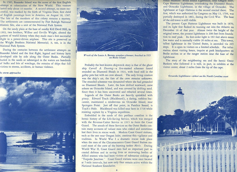 Cape Hatteras National Seashore Recreational Area North Carolina Booklet 1963 Ebay
