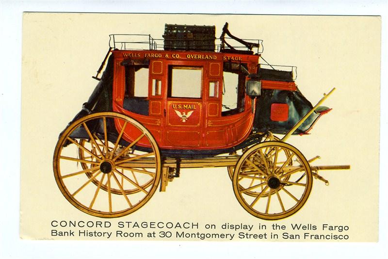Concord Stagecoach Postcard Wells Fargo Bank San Francisco California