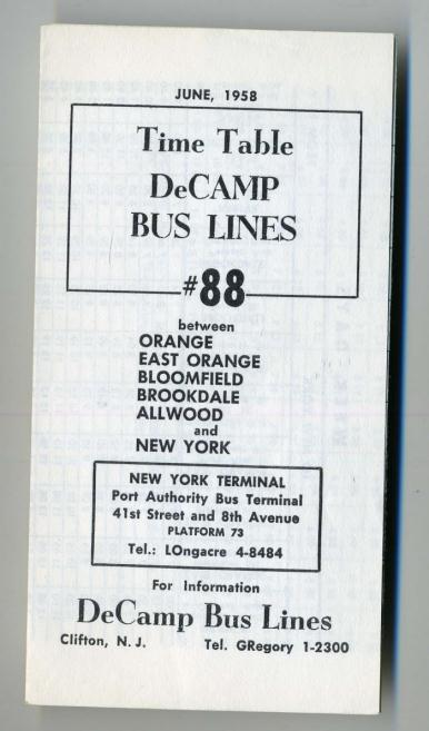 Decamp bus lines schedules new york port authority 1958 ebay - Port authority bus schedule ...