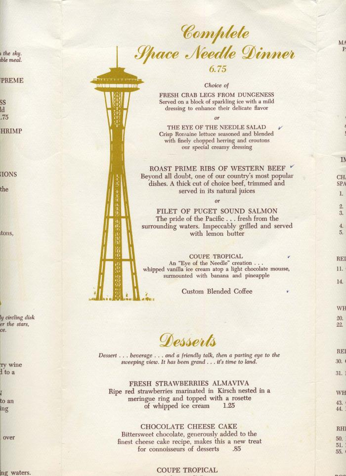 needle restaurant menu eye of the needle menu space needle seattle