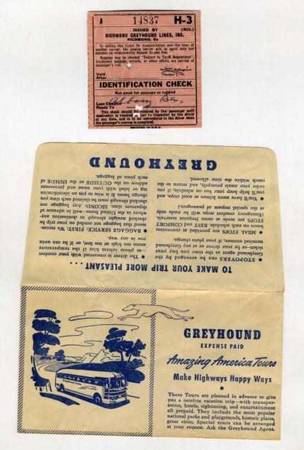 Greyhound Bus Lines Ticket Jacket & Ticket 1953  Greyhound Bus L...