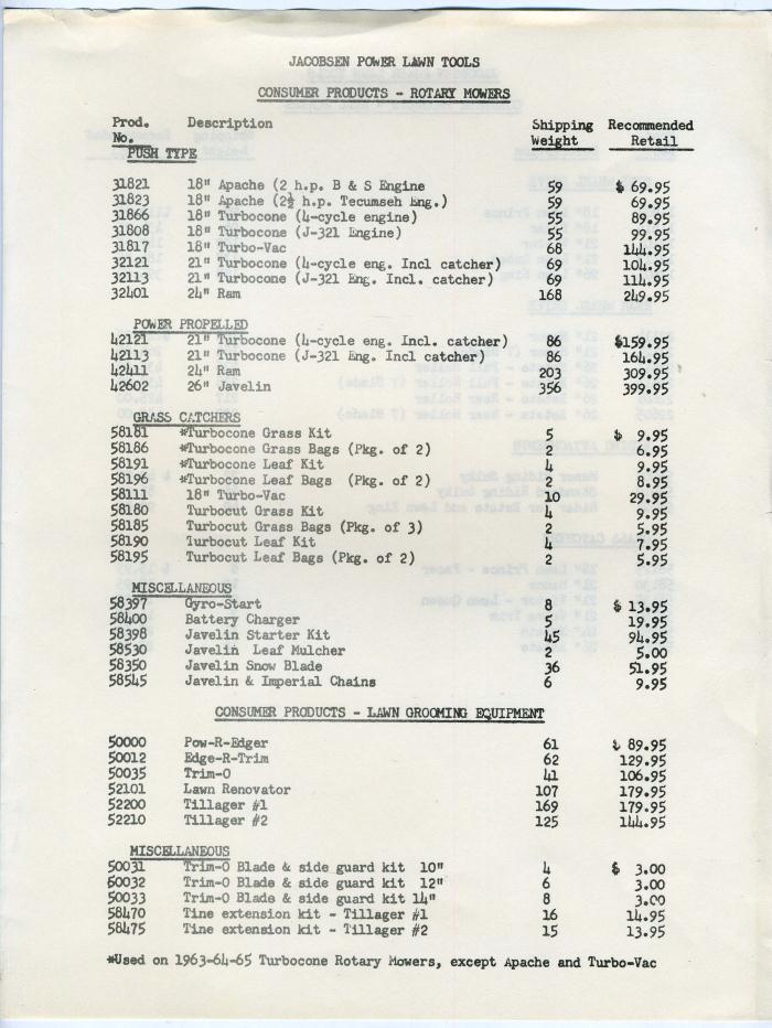 Jacobsen Lawn & Garden Power Equipment Catalog & Price ...