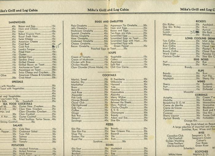 Mike 39 s grill and log cabin menu albany new york 1941 ebay for The cabin restaurant menu