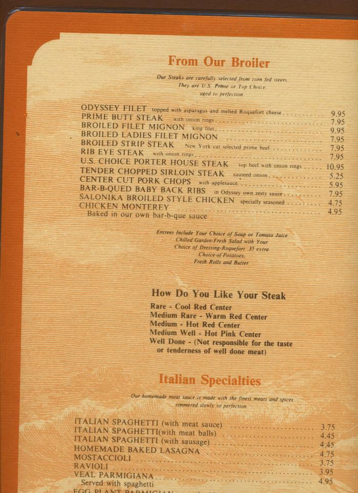 Odyssey Restaurant Menu 1978 Merrillville Indiana - bidStart (item ...