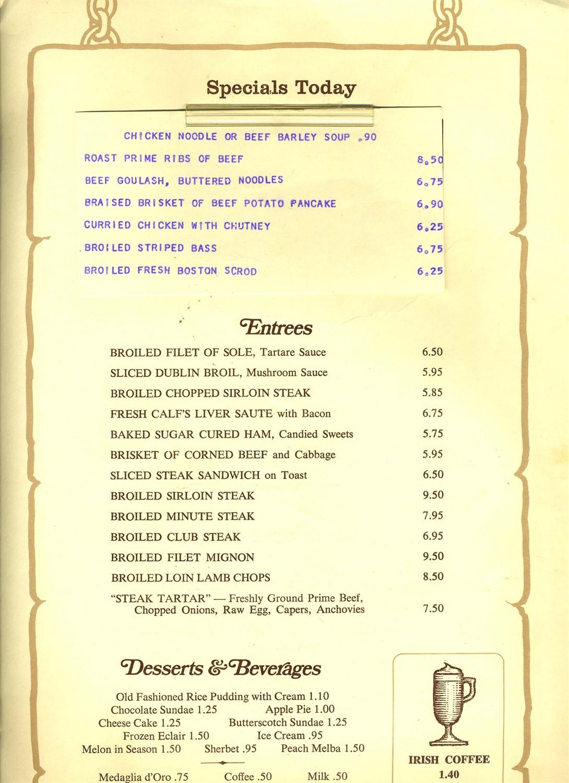 P j moriarty restaurants menu new york city irish american for American cuisine menu