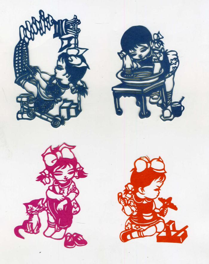 chinese folk art paper cuts little girl at play