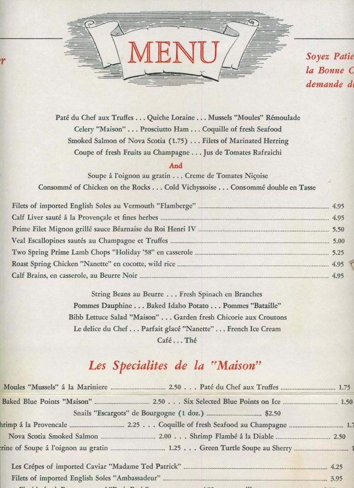 French Bistro Food Menu A 4 page dinner menu from