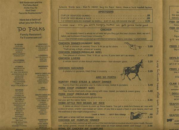 Po Folks Restaurant Menu