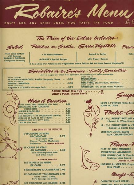 French Bistro Food Menu A large 4 page dinner menu