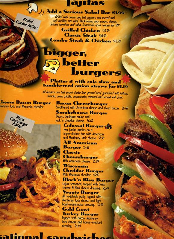 Ruby Tuesday Restaurant Menu 1990 S Awesome Food Serious