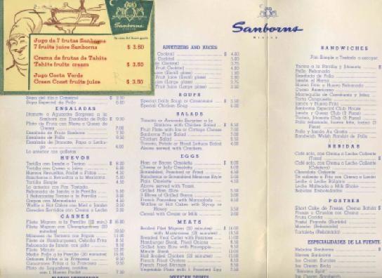 Sanborns hotel del prado menus monterrey mexico 1950 39 s ebay for Sanborns restaurant mexico