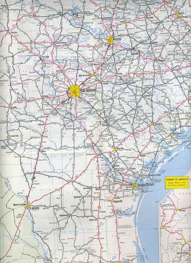 South Texas Road Map My Blog - Us road map 1950